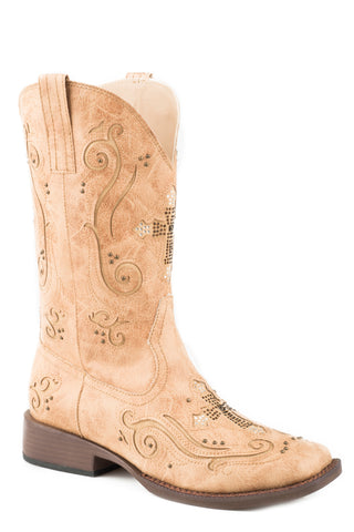 Roper Faith Womens Tan Faux Leather Inlay Crosses Cowboy Boots
