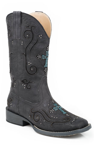 Roper Boots Ladies Black Faux Leather Crystal Cross Faith Cowboy