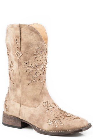 Roper Womens Beige Faux Leather Kennedy Cowboy Boots