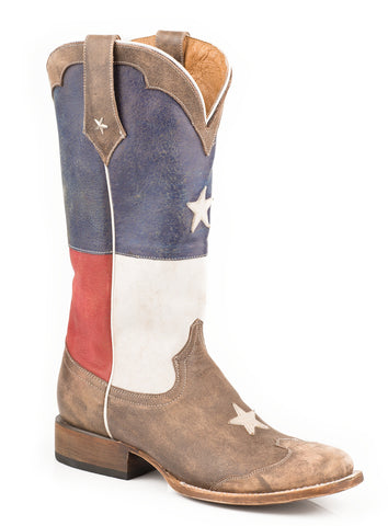 Roper Womens Americana Brown Texas Star Square Toe Leather Cowboy Boots