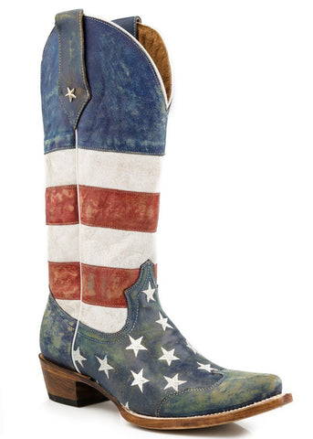 Roper Womens Americana Red American Flag Snip Toe Leather Cowboy Boots