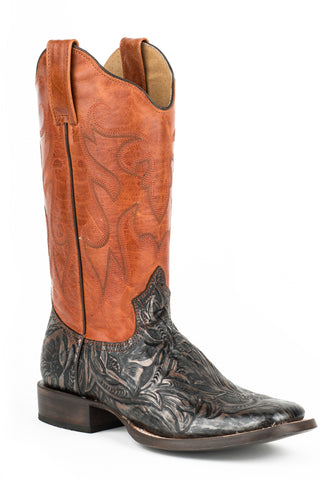 Roper Boots Ladies Brown Leather Square Toe Audie Cowboy