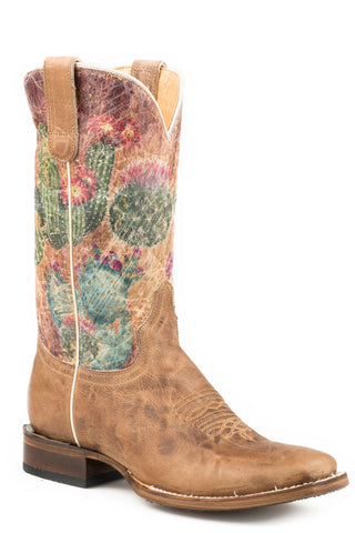 Roper 12in Womens Waxy Tan Leather Prickly Cowboy Boots