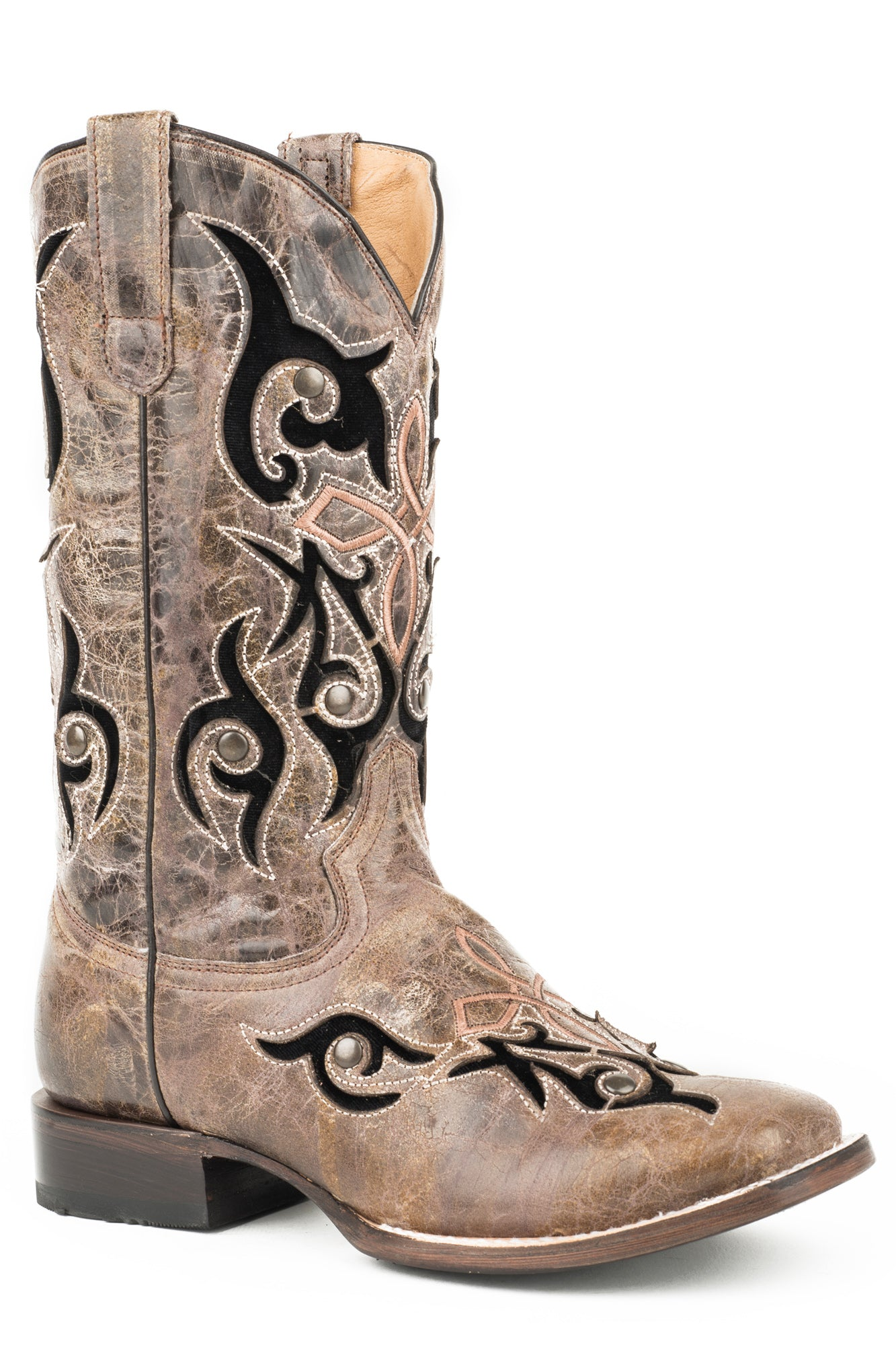 c843b84dfe565 Roper Womens Waxy Brown Leather Velvet Baby Cowboy Boots