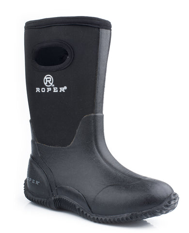 Roper Youth Boys Rugged 10in Black Waterproof Neoprene Barn Barnyard Boots
