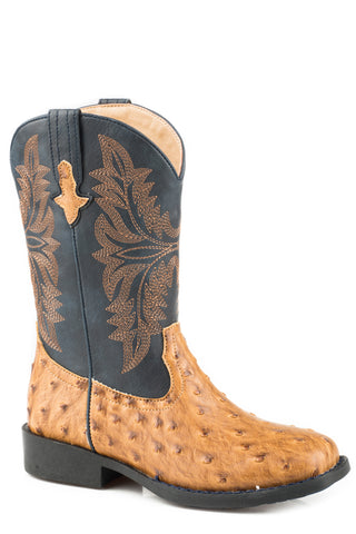 Roper Ostrich Youth Tan Faux Leather Cowboy Cool Cowboy Boots