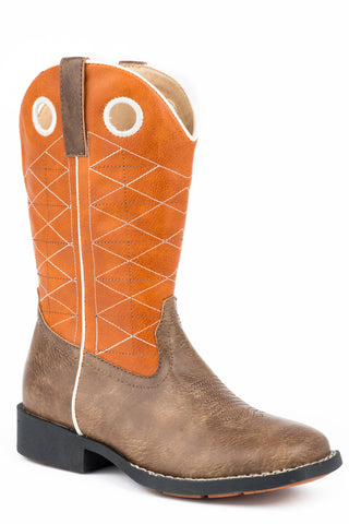 Roper Boone Boys Youth Brown Faux Leather Orange Cowboy Boots
