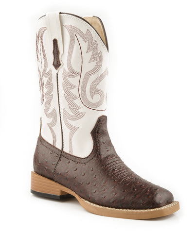 Roper Youth Boys Square Toe Brown Faux Ostrich Leather Western Cowboy Boots