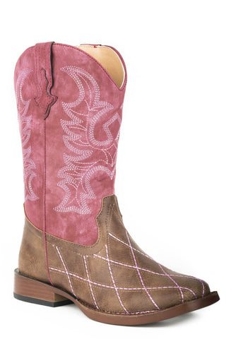 Roper Cross Cut Big Kids Girls Brown Faux Leather Cowboy Boots