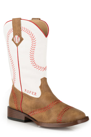 Roper Boys Youth Tan Faux Leather Baseball Stitch Cowboy Boots