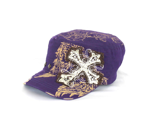 Savana Purple 100% Cotton Ladies Purple Hat Cross Angel Wing