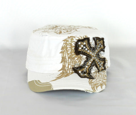 Savana Patch White 100% Cotton Army Cap