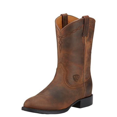 Ariat Distressed Brown Womens Heritage Roper Leather Western Boots