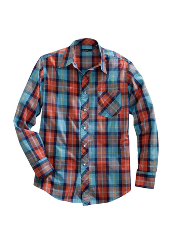 Tin Haul Mens Blue 100% Cotton Sunset Plaid Western L/S Shirt