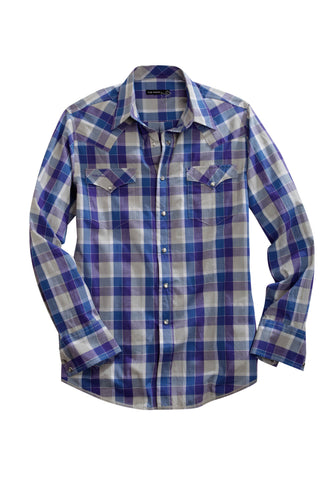 Tin Haul Mens Blue 100% Cotton Lewis Plaid Western L/S Shirt