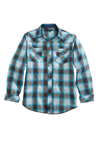Tin Haul Mens Blue 100% Cotton Horizon Plaid L/S Shirt