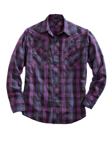 Tin Haul Mens Purple 100% Cotton L/S Plaid Snap Western Shirt