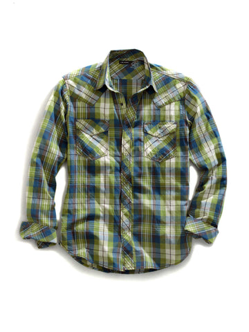 Tin Haul Shirt Mens Green 100% Cotton Rocky Point Check L/S Western