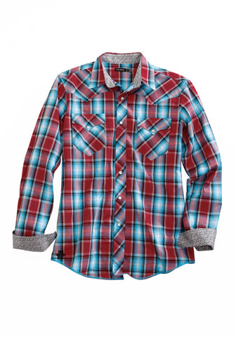 Tin Haul Mens Red/Blue 100% Cotton Vintage Plaid L/S Shirt