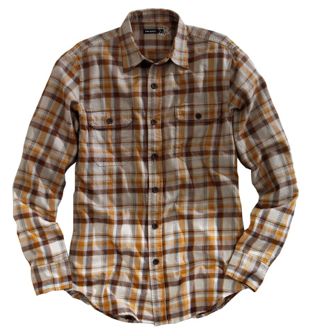 Tin Haul Mens Yellow 100% Cotton L/S Mack's Plaid Flannel Western Shirt