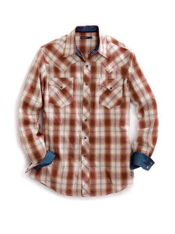 Tin Haul Mens Brown 100% Cotton Brownie Plaid Western L/S Shirt