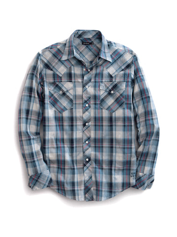 Tin Haul Mens Blue 100% Cotton Grid Plaid Western L/S Shirt