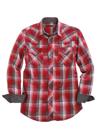 Tin Haul Mens Red 100% Cotton Flag Plaid L/S Shirt
