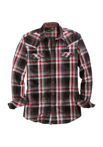 Tin Haul Mens Black 100% Cotton Line Plaid L/S Shirt