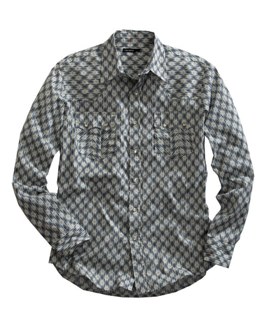 Tin Haul Mens Blue 100% Cotton L/S Indigo Ikat Print Western Shirt