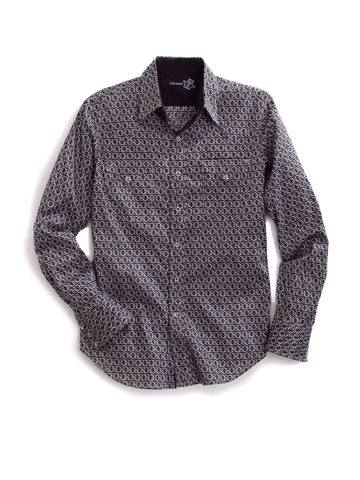 Tin Haul Mens Black 100% Cotton Coil Print Western L/S Shirt