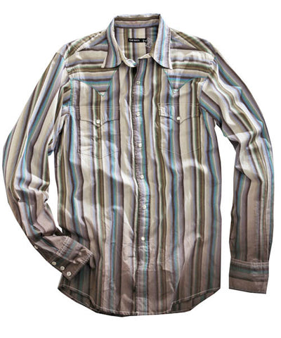 Tin Haul Mens Brown 100% Cotton L/S Ombre Stripe Western Shirt
