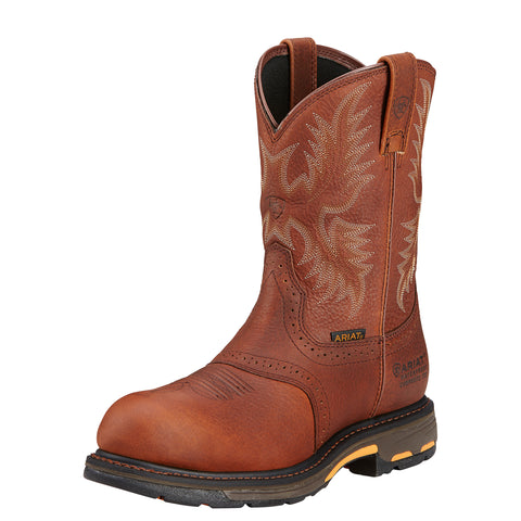 Ariat Dark Copper Mens Workhog Pull H2O Ct Leather Work Boots