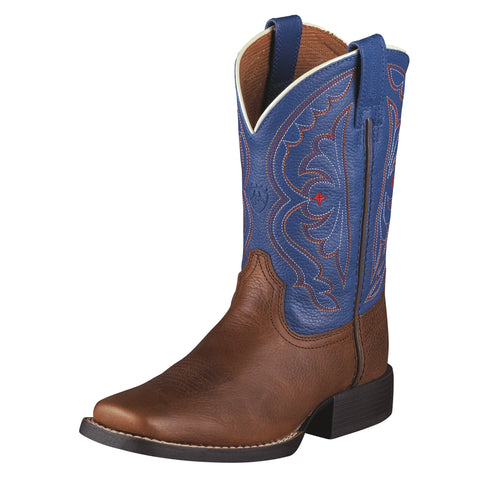 Ariat Brown Oiled Rowdy/Royal Youth Quickdraw Leather Western Boots