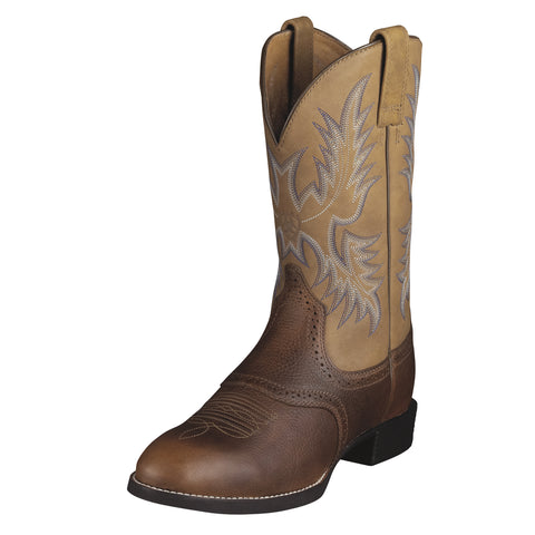 Ariat Barrel Brown Mens Heritage Stockman Leather Western Boots