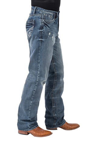 Tin Haul Mens Blue 100% Cotton Heavy Navy Stitch Jeans