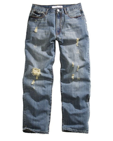 Tin Haul Jeans Mens Blue Cotton Blend Destructed Hoss Loose Fit