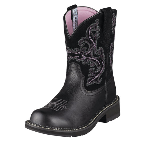 Ariat Black Deertan/Black Womens Fatbaby II Leather Western Boots