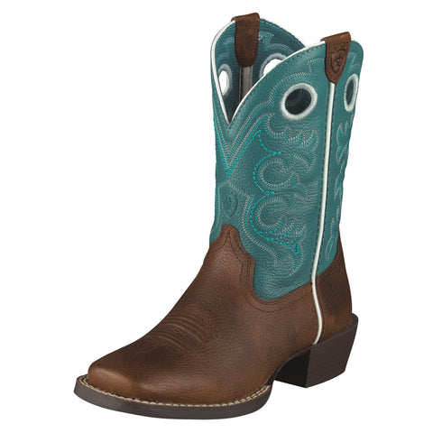 Ariat Brown Oiled Rowdy/Turquoise Youth Crossfire Western Boots