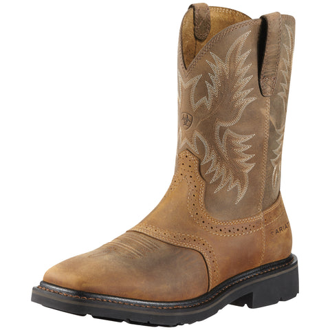 Ariat Aged Bark Mens Sierra Sq Toe St Leather Work Boots