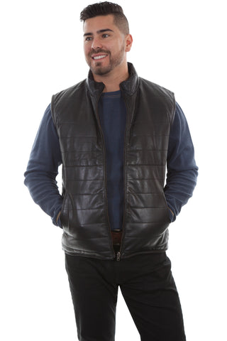 Scully Mens Black Lamb Leather Reversible Ribbed Vest