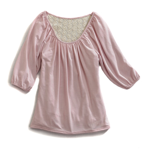 Tin Haul Scoop Neck Top Ladies Pink Polyester 3/4S Crochet Knit