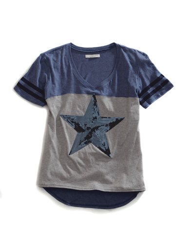 Tin Haul Shirt Ladies Blue 100% Cotton Sequin Star S/S Tee T-shirt