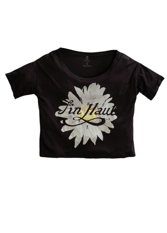 Tin Haul Womens Black 100% Cotton S/S Sun Flower Graphic T-Shirt