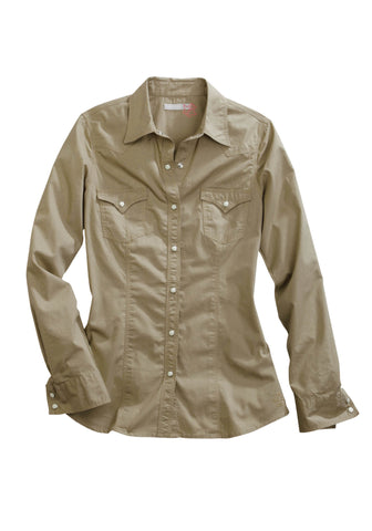 Tin Haul Ladies Khaki 100% Cotton Solid Poplin L/S Shirt