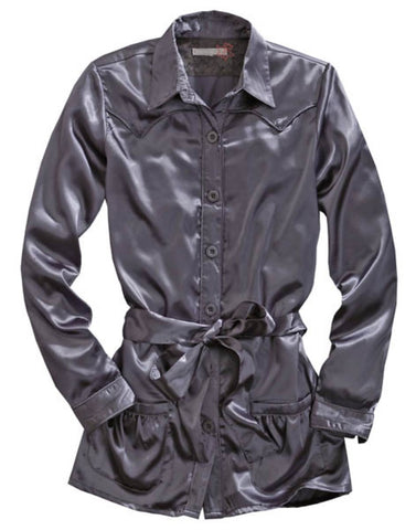 Tin Haul Womens Gray Polyester L/S Belted Tunic Satin Shirt