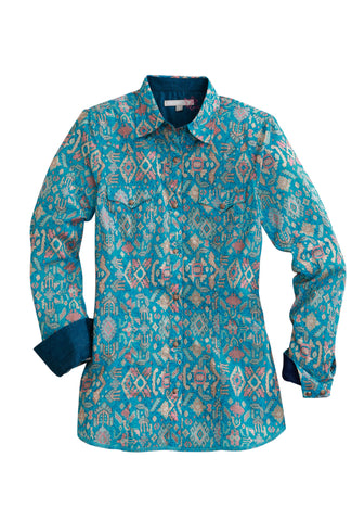 Tin Haul Womens Blue 100% Cotton Gem Aztec L/S Shirt