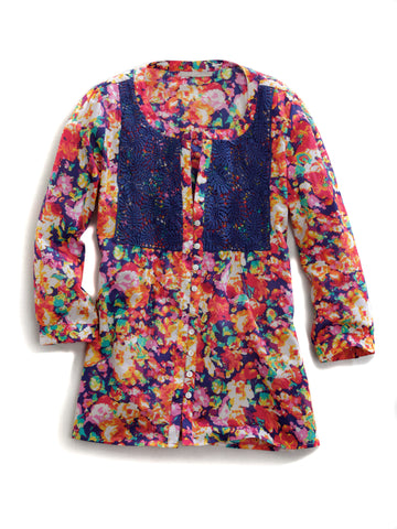 Tin Haul Ladies Multi 100% Cotton Floral Impression Blouse L/S Shirt