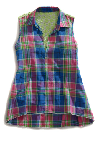 Tin Haul Womens Pink 100% Cotton Sleeveless Plaid Collar V-Neck Crochet Top