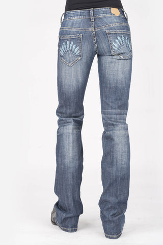 Tin Haul Womens Blue Cotton Blend Dolly Celebrity Feather Jeans