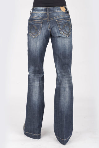 Tin Haul Womens Blue Cotton Blend Ella Trouser Barbed Wire Jeans